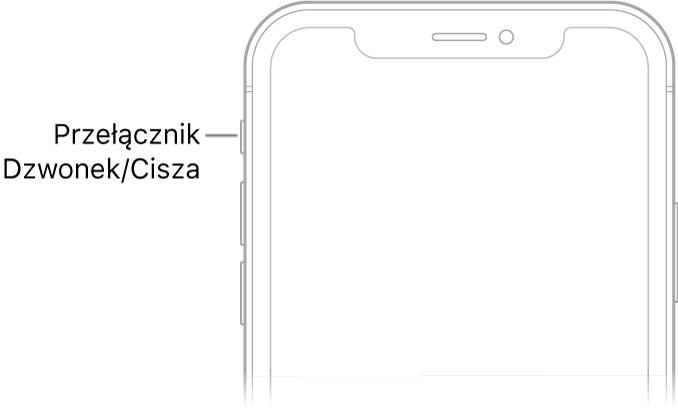 Górna część przodu iPhone'a; opis dotyczy przycisku Dzwonek/Cisza.