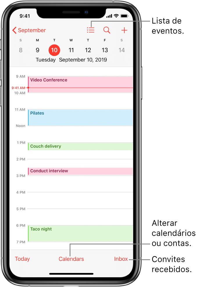 A vista diária de um calendário, com os eventos marcados para esse dia. Toque no botão Calendários na parte inferior do ecrã para mudar de calendário. Toque no botão Recebido (canto inferior direito) para ver os convites recebidos.