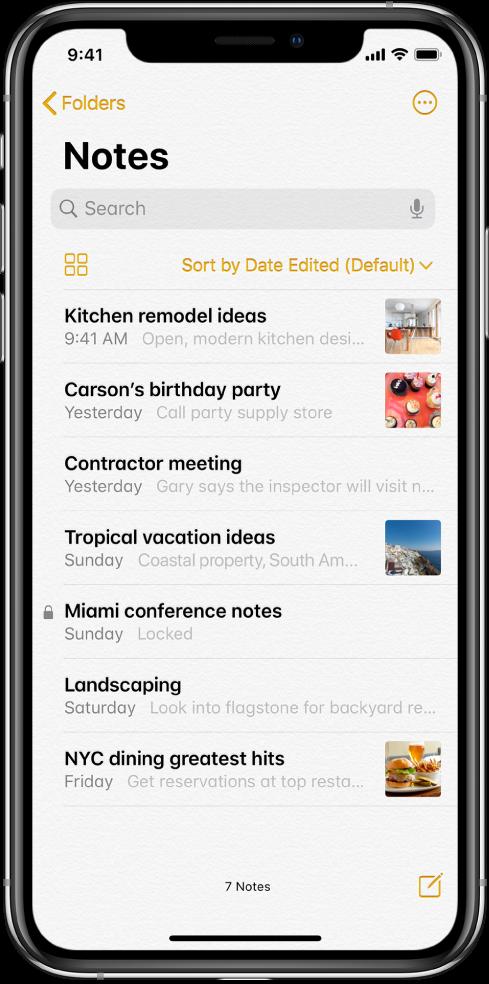 Listă de notițe cu câmpul de căutare în partea de sus.