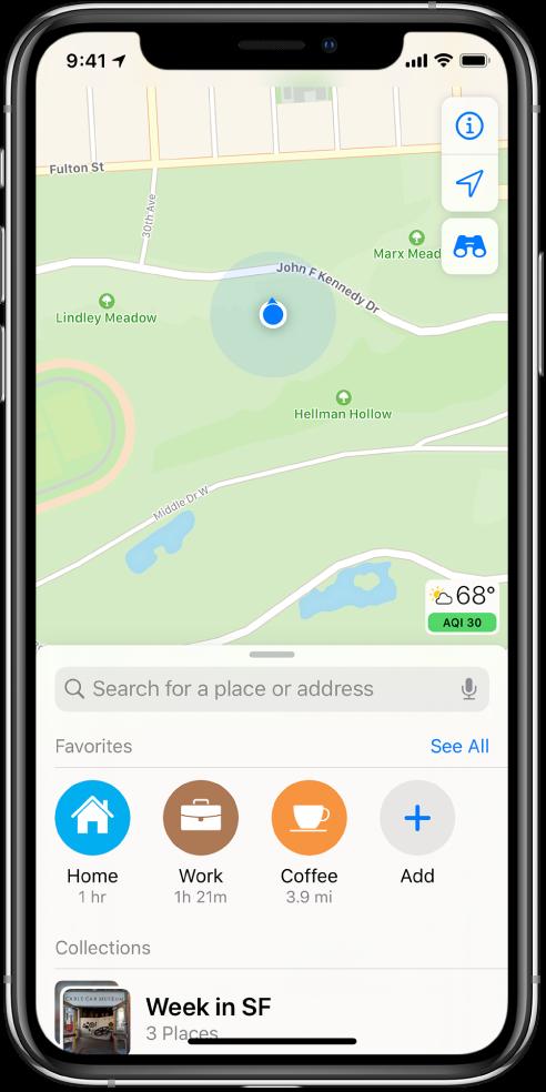 Hartă afișând localizarea curentă într-un parc municipal.