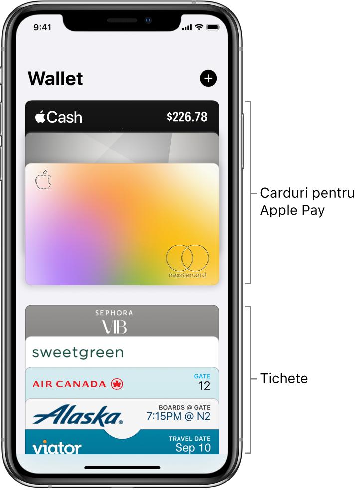 Ecranul Wallet afișând partea de sus a mai multor carduri de credit și de debit și tichete.