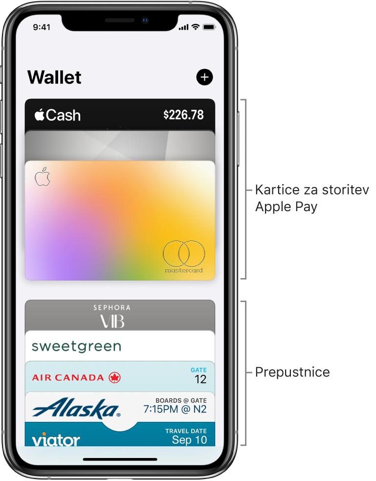 Zaslon Wallet, na katerem so prikazani zgornji deli več kreditnih in debetnih kartic ter prepustnic.