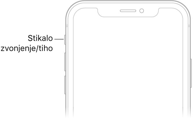 Zgornji sprednji del iPhona z oblačkom, ki označuje stikalo Glasno/tiho.