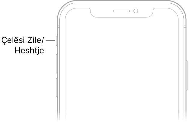 Pjesa e sipërme e pamjes së përparme të iPhone me një pamje nga afër të çelësit të ziles/heshtjes.