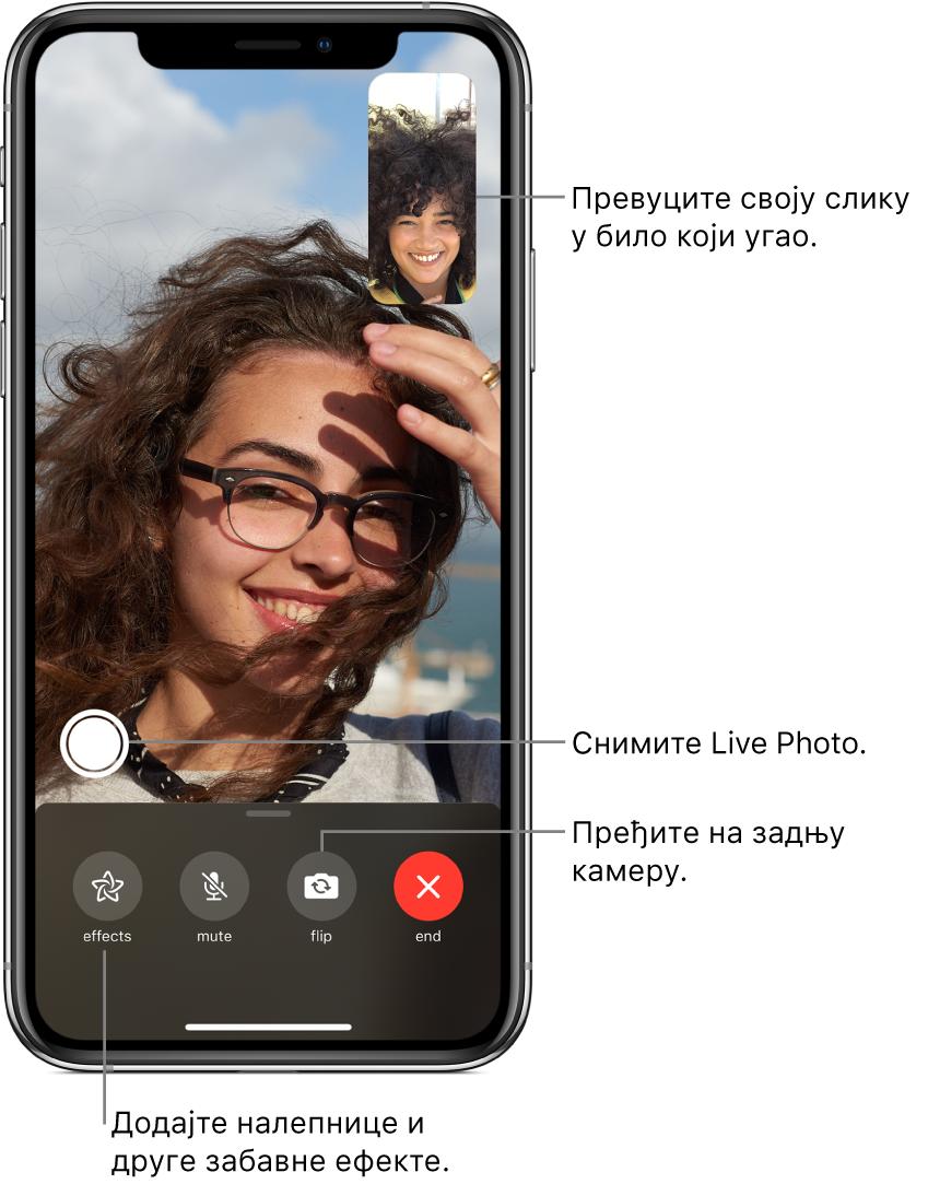 Екран FaceTime на коме се види да је позив у току. Ваша слика се види у малом правоугаонику у горњем десном углу, док слика саговорника испуњава остатак екрана. Дуж доње ивице екрана су поређана дугмад Effects, Mute, Flip и End. Изнад њих се налази дугме за снимање Live Photo снимка.