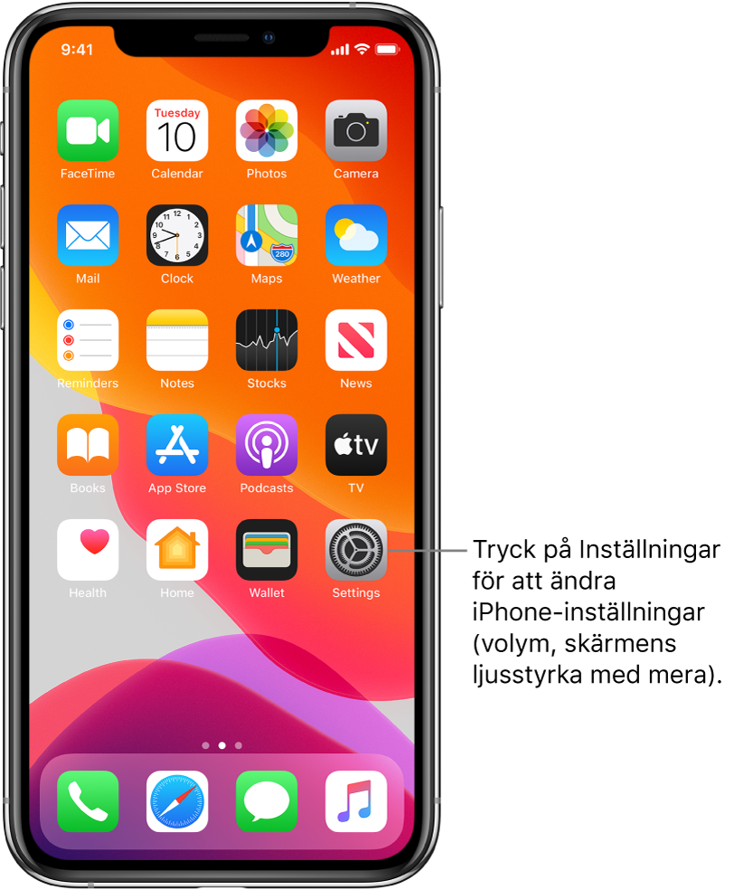 Hemskärmen med flera symboler, bland annat symbolen för Inställningar, som du kan trycka på när du vill ändra ljudvolymen, ljusstyrkan på skärmen med mera på iPhone.
