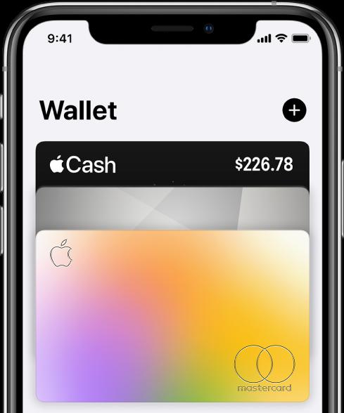 Den övre halvan av skärmen Wallet med flera kredit- och betalkort. Lägg till-knappen finns i det övre högra hörnet.