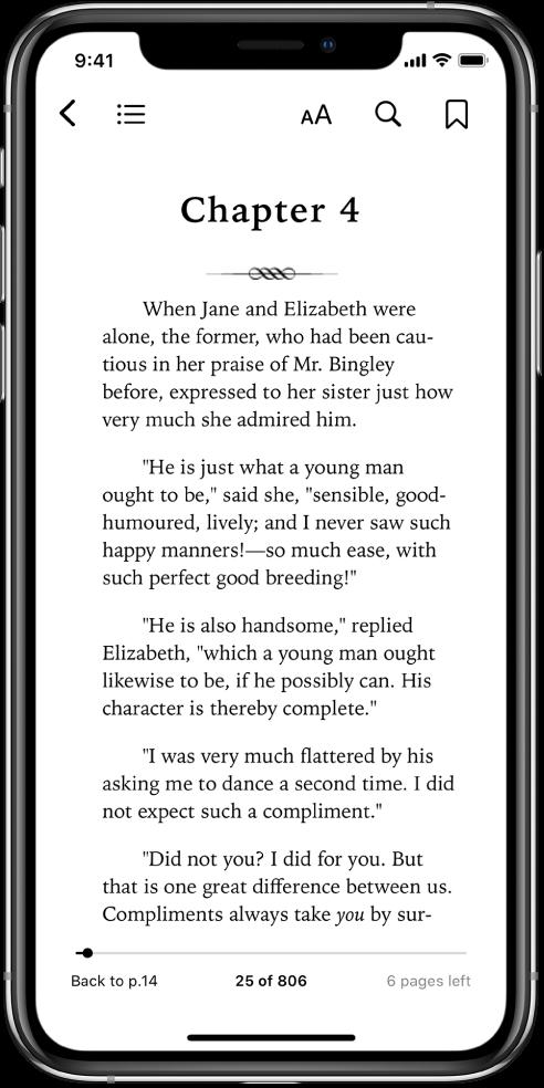En öppen boksida i appen Böcker med knappar överst på skärmen, från vänster till höger: stäng boken, visa innehållsförteckningen, ändra textens utseende, sök och bokmärken. Det finns ett skjutreglage längst ned på skärmen