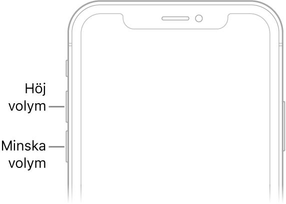 Övre delen av framsidan på iPhone med knapparna för volym upp och ned uppe till vänster.