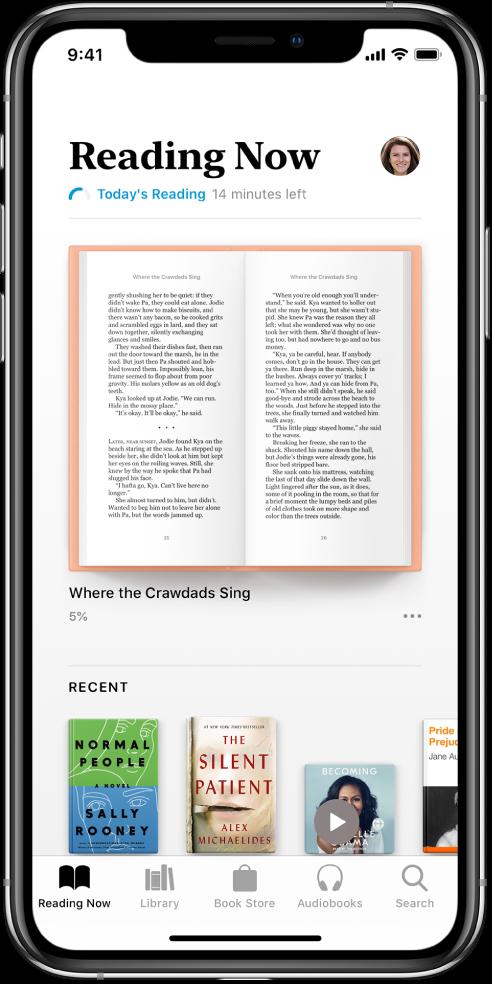 Skärmen Läser nu i appen Böcker. Längst ned på skärmen visas, från vänster till höger, flikarna Läser nu, Bibliotek, Bokhandel, Ljudböcker och Sök.