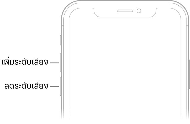 ส่วนบนของ iPhone ด้านหน้าที่มีปุ่มเพิ่มระดับเสียงและปุ่มลดระดับเสียงทางด้านซ้ายบน