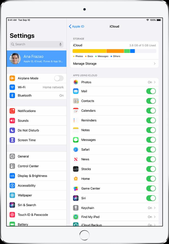 iCloud 設定畫面顯示 iCloud 儲存空間儀表,以及 App 和功能列表,包含「郵件」、「聯絡人」和「訊息」,可以搭配 iCloud 使用。