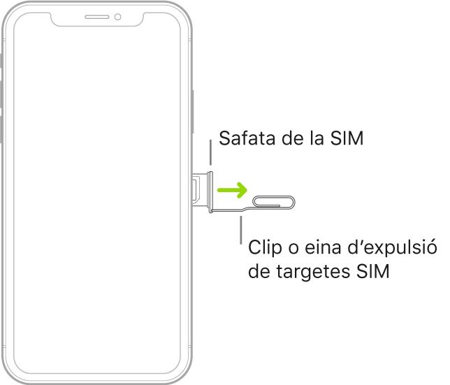 S'introdueix un clip de paper o l'eina d'expulsió de la SIM al petit orifici del suport, situat al lateral dret de l'iPhone, per expulsar el suport i retirar-lo.