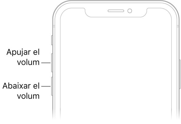 La part superior frontal de l'iPhone amb els botons d'apujar i abaixar el volum a la part superior esquerra.