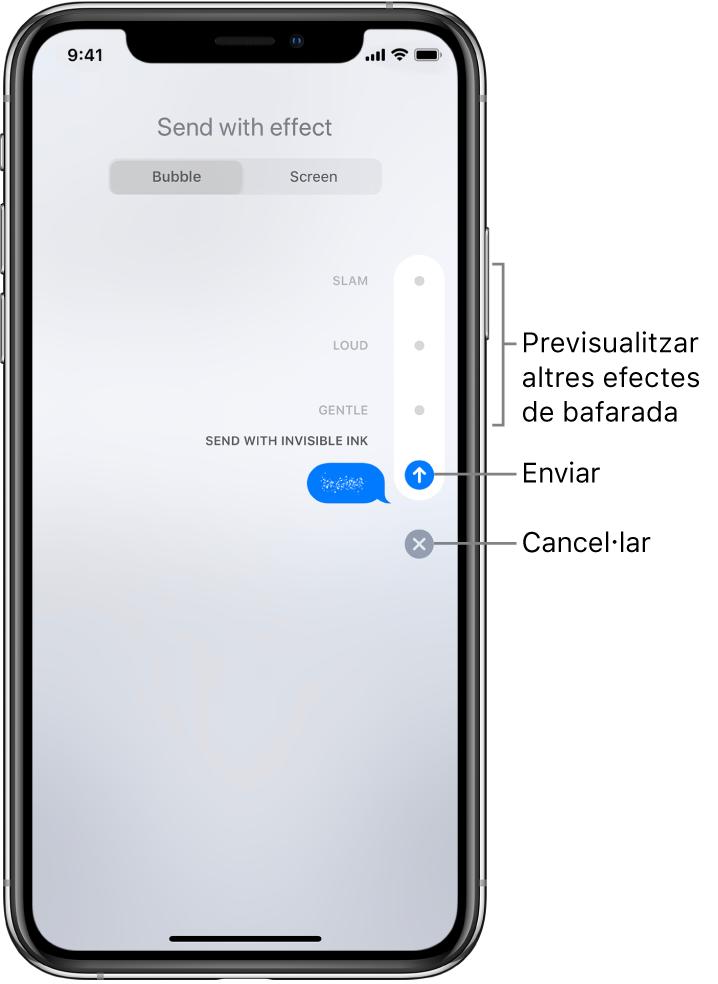 Una previsualització d'un missatge amb l'efecte de tinta invisible. A la dreta, toca un control per previsualitzar altres efectes de bombolla. Torna a tocar el mateix control per enviar, o toca el botó Cancel·lar a sota per tornar al teu missatge.
