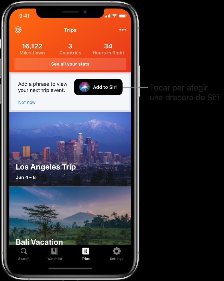 """Pantalla d'una app de viatjar. El botó """"Afegir a Siri"""" es troba a la dreta del text que diu """"Afegeix una frase per veure el següent viatge""""."""