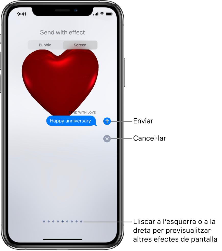 Previsualització d'un missatge on es mostra un efecte de pantalla completa amb un cor vermell.