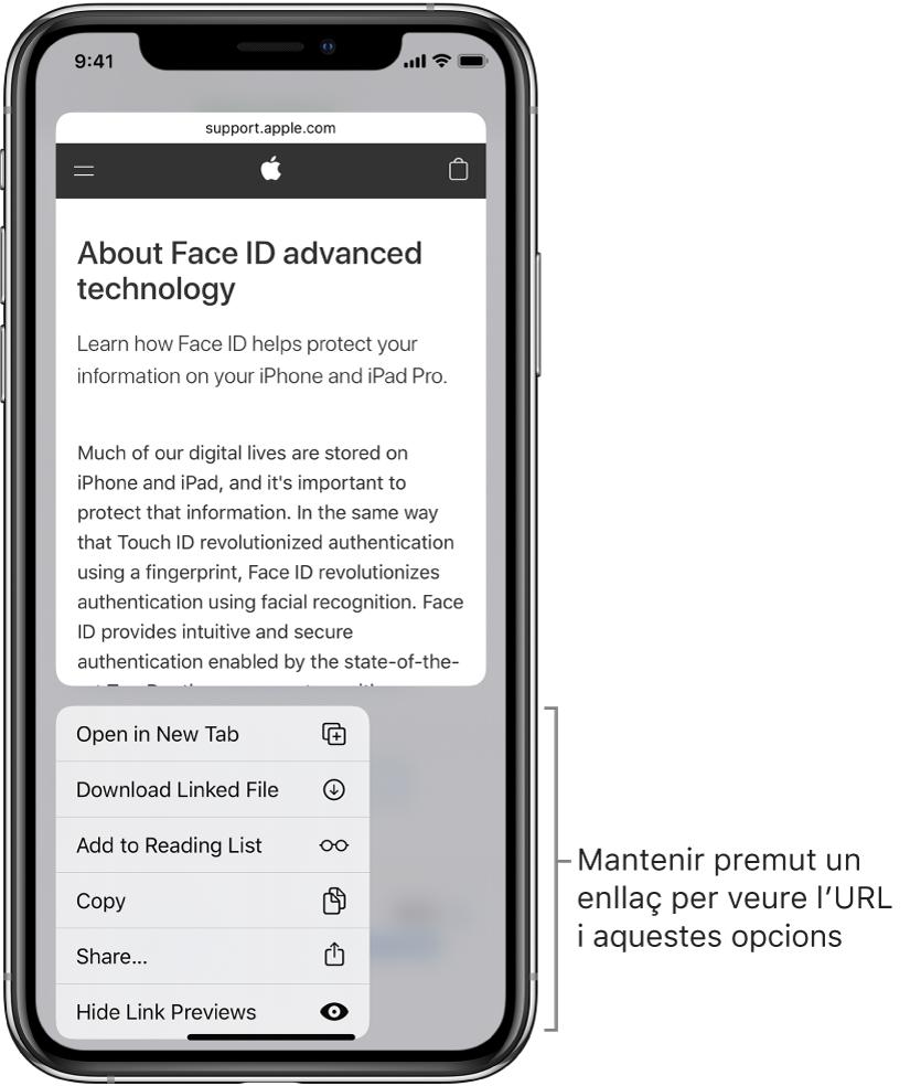 """Una superposició on es veu una previsualització de l'URL de destí seguida d'una llista d'accions possibles: Obrir, """"Afegir a la llista de lectura"""", """"Afegir a l'app Fotos"""", Copiar i Compartir."""