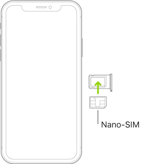S'està inserint una nano-SIM al suport de l'iPhone; la cantonada bisellada es troba a la part superior dreta.