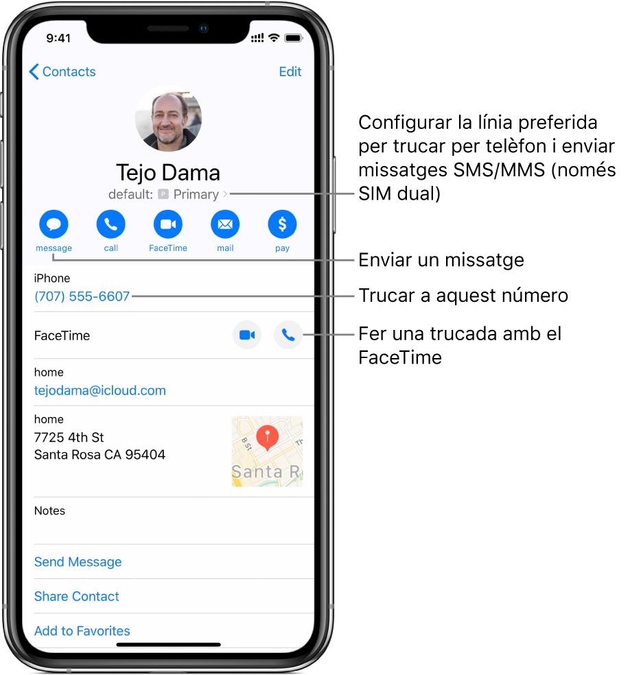 Pantalla d'informació d'un contacte. Al capdamunt hi ha el nom i la foto del contacte. A sota hi ha els botons per enviar un missatge, fer una trucada telefònica, fer una trucada amb el FaceTime, enviar un missatge de correu electrònic i enviar diners amb l'ApplePay. A sota dels botons hi ha la informació de contacte.