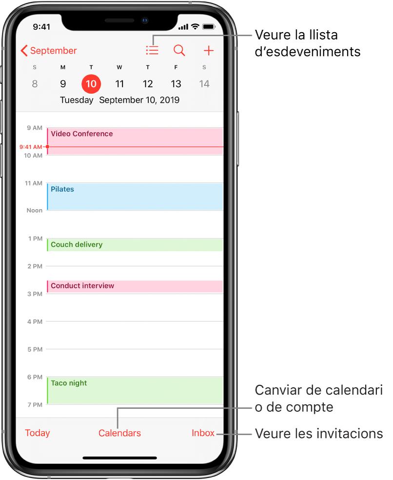 Calendari en vista de dia on es mostren els esdeveniments del dia. Toca el botó Calendaris, al capdavall de la pantalla per canviar els comptes del calendari. Toca el botó Entrada de l'angle inferior dret per veure les invitacions.