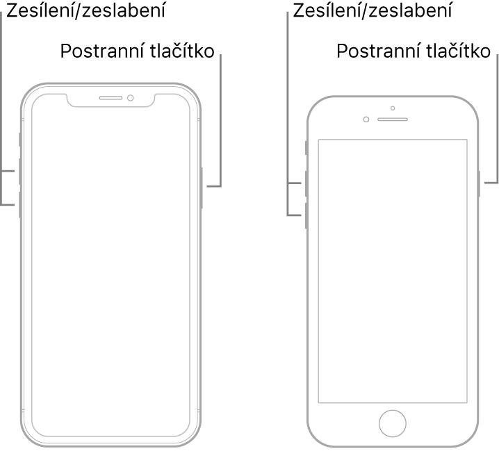 Obrázky dvou různých modelů iPhonu ležících displejem vzhůru. Model vlevo nemá tlačítko plochy, zatímco na modelu vpravo je vidět tlačítko plochy udolního okraje zařízení. Uobou modelů jsou na levé straně zařízení vyobrazená tlačítka zvýšení asnížení hlasitosti ana pravé straně postranní tlačítko.