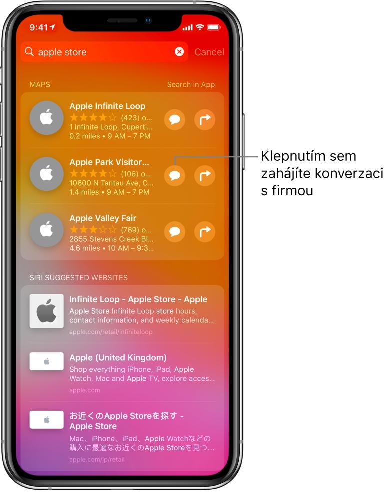 """Obrazovka hledání spoložkami nalezenými na dotaz """"Apple Store"""" vAppStoru, vMapách ana webových stránkách. Ukaždé položky je uvedený stručný popis, hodnocení nebo adresa auwebových stránek jejich URL. Popisek uprvní položky upozorňuje na tlačítko, kterým můžete zahájit zákaznický chat sAppleStorem."""