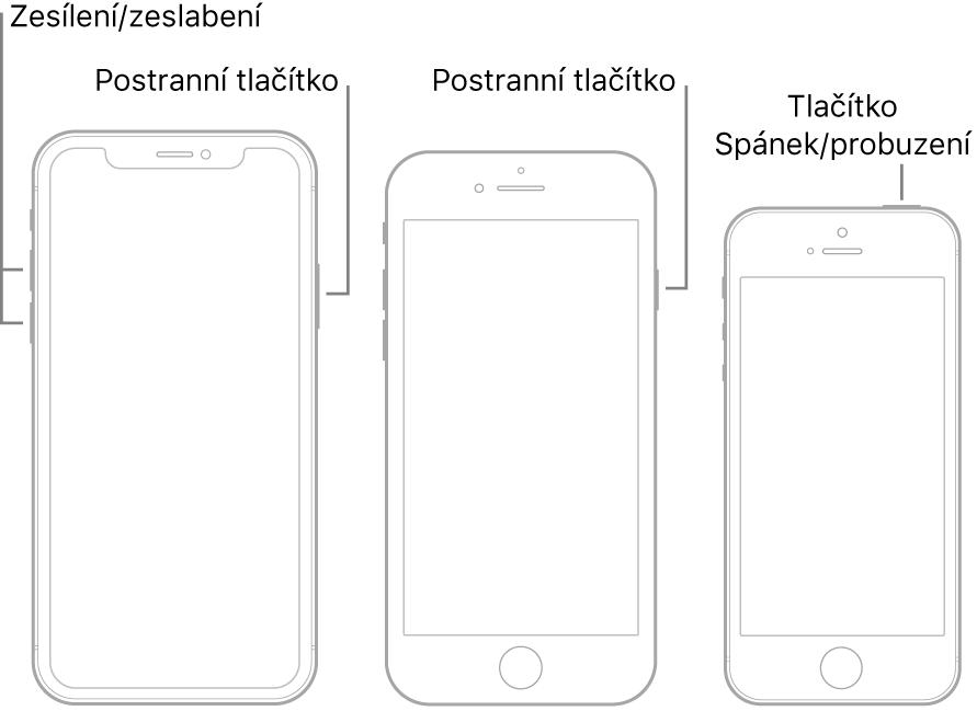 Obrázky tří různých modelů iPhonu ležících displejem vzhůru. Na obrázku zcela vlevo jsou vidět tlačítka zvýšení asnížení hlasitosti na levé straně zařízení. Vpravo je postranní tlačítko. Uzařízení na prostředním obrázku je vidět postranní tlačítko na pravé straně. Obrázek zcela vpravo ukazuje tlačítko Spánek/probuzení na horní straně zařízení.