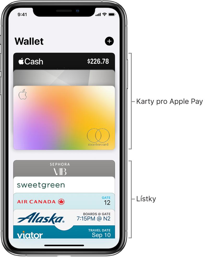 Obrazovka Walletu sněkolika kreditními adebetními kartami alístky