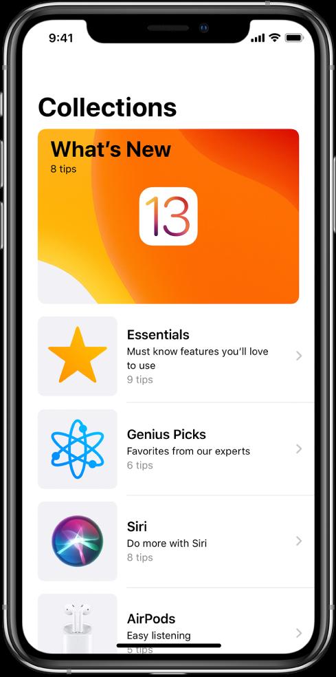 En skærm, der viser samlinger af Tips med pile til højre, der angiver, at du kan trykke på en samling for at se de tilhørende tips.