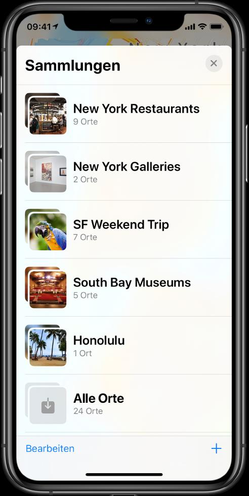 """In der App """"Karten"""" ist eine Liste von Sammlungen zu sehen. Hierbei handelt es sich von oben nach unten um Sammlungen für Restaurants in New York, Galerien in New York, einen Wochenendtrip nach SF, Museen in der South Bay, Honolulu und """"Alle Orte"""". Unten links ist die Taste """"Bearbeiten"""" und unten rechts die Taste """"Hinzufügen""""."""