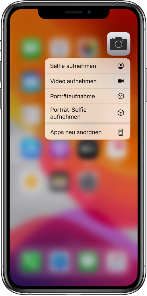 Im Hintergrund befindet sich der weichgezeichnete Home-Bildschirm mit dem Menü für Kamera-Schnellaktionen unter dem Kamerasymbol.