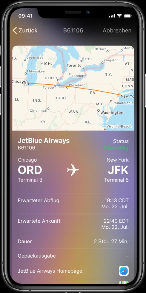 Der iPhone-Bildschirm zeigt den Flugstatus für einen JetBlue Airways-Flug. Oben im Bildschirm ist eine Karte mit der Flugroute zu sehen. Unter der Karte werden die folgenden Fluginfos von oben nach unten angezeigt: Flugnummer und Terminalstandorte, Abflug- und Ankunftszeiten, Flugdauer und ein Link zur Startseite von JetBlue Airways.