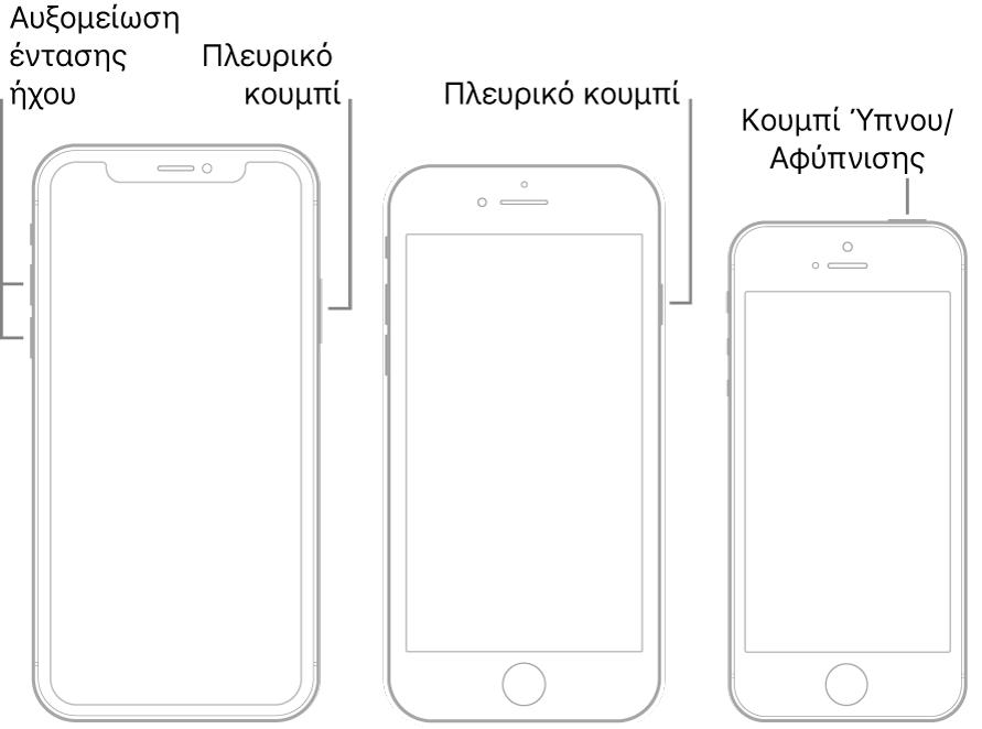 Εικόνες των τριών τύπων μοντέλων iPhone, με τις οθόνες προς τα πάνω. Στην εικόνα στα αριστερά φαίνονται τα κουμπιά αύξησης και μείωσης της έντασης ήχου στην αριστερή πλευρά της συσκευής. Το πλευρικό κουμπί εμφανίζεται στα δεξιά. Στη μεσαία εικόνα φαίνεται το πλευρικό κουμπί στα δεξιά της συσκευής. Στην εικόνα στα δεξιά φαίνεται το κουμπί Ύπνου/Αφύπνισης στο πάνω μέρος του iPhone.