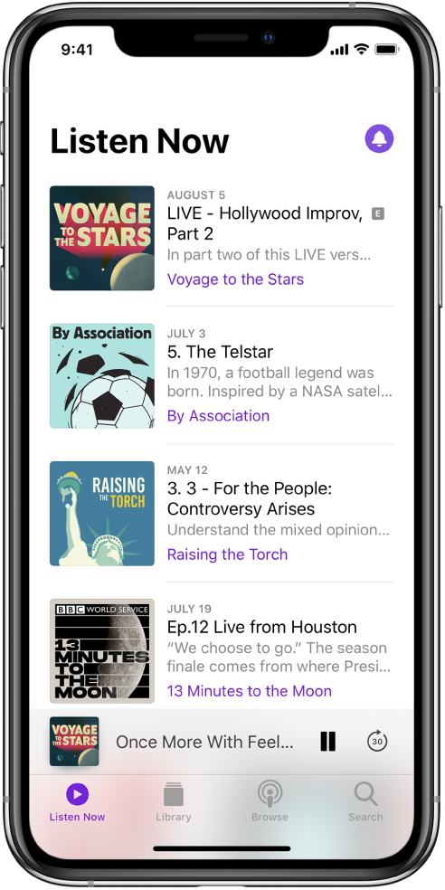 The Listen Now tab showing recently updated episodes.