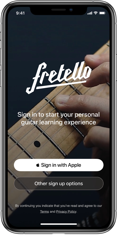 An app that displays a Sign in with Apple button.
