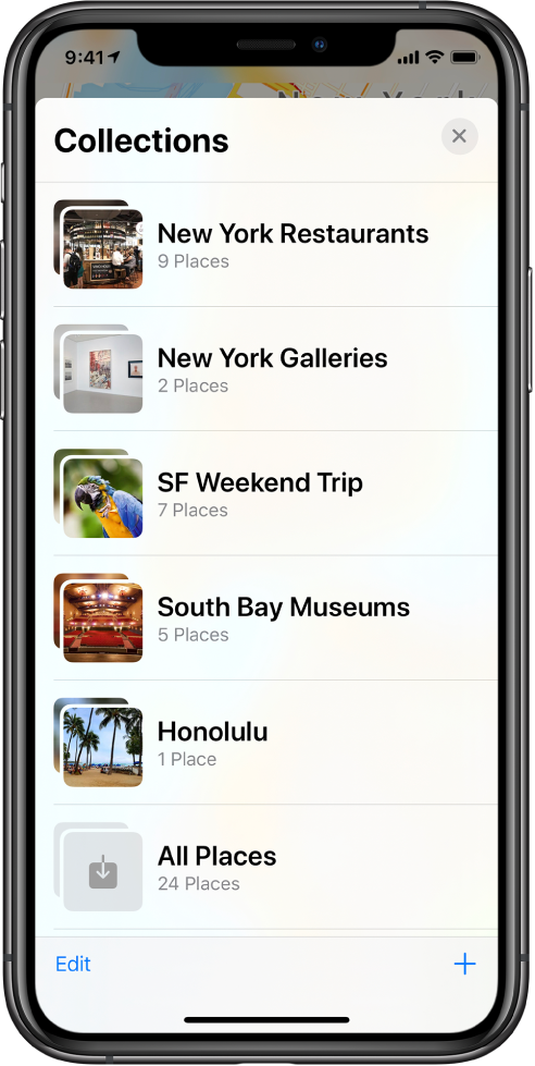 A list of collections in the Maps app. The collections, from top to bottom, are New York Restaurants, New York Galleries, SF Weekend Trip, South Bay Museums, Honolulu, and All Places. At the lower left is the Edit button, and at the lower right is the Add button.