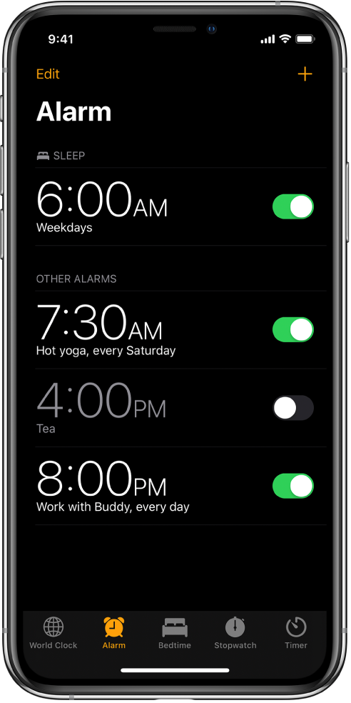 The Alarm tab, showing four alarms set for various times.