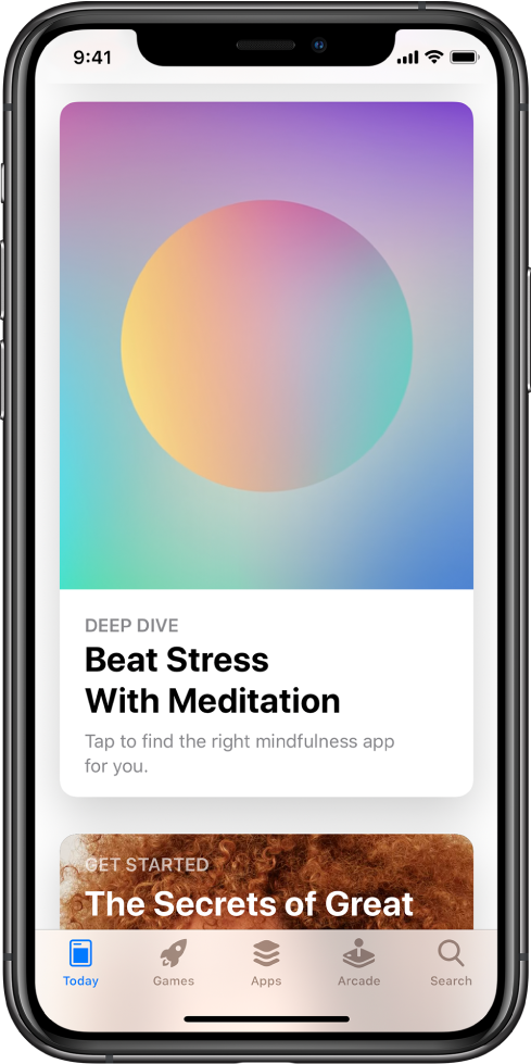 "The App Store screen with the Today tab selected at the bottom of the screen. In the middle of the screen is a story titled, ""Deep Dive, Beat Stress with Meditation."""