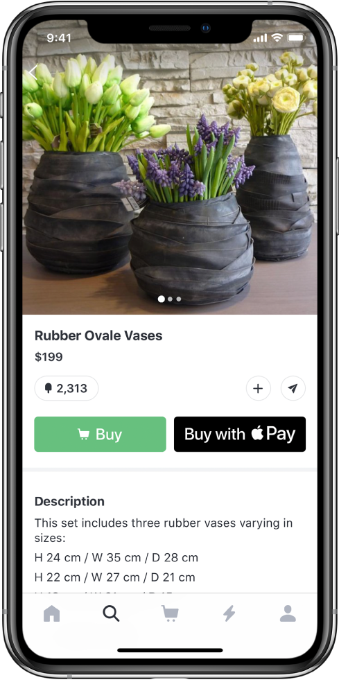 An app showing a payment screen that includes the Buy with Apple Pay button.