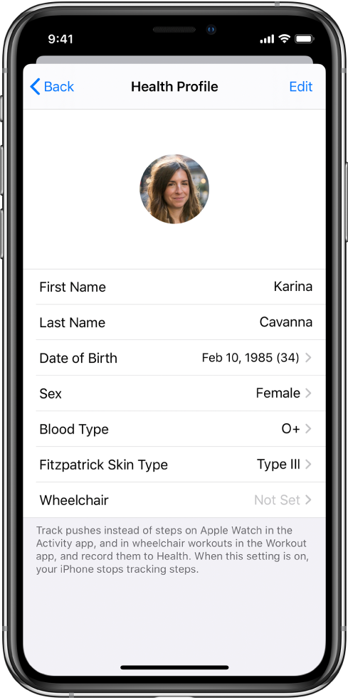 The Health Profile screen for a 34-year old female with O+ blood type.