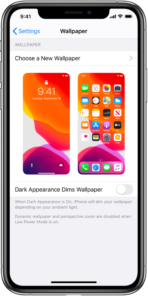 The wallpaper settings screen, with the button for choosing a new wallpaper at the top and images of the Lock screen and Home screen with the current wallpaper.