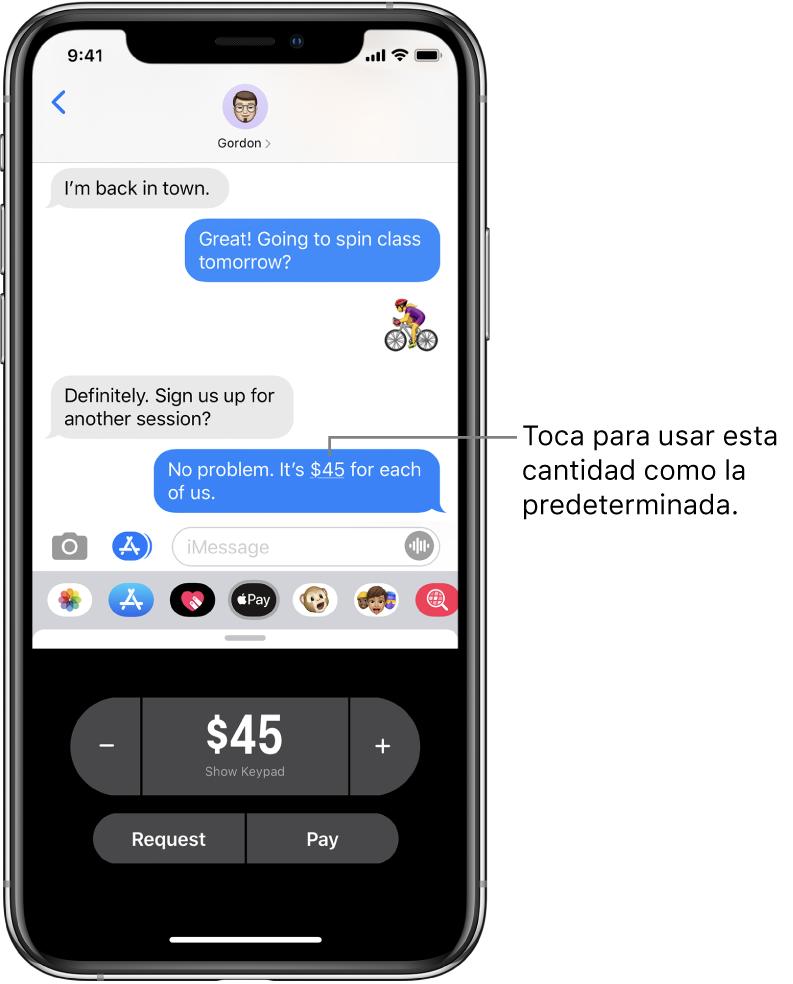 Conversación de iMessage con la app Apple Pay abierta en la parte inferior.