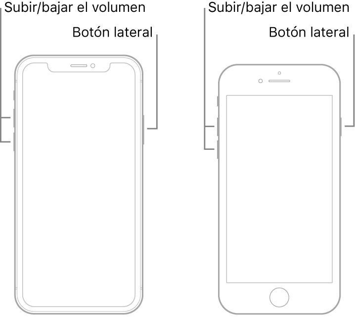 Ilustraciones de dos tipos de modelos de iPhone con la pantalla hacia arriba. El modelo de la izquierda no tiene botón de inicio, mientras que el de la derecha tiene un botón de inicio cerca de la parte inferior del dispositivo. En ambos modelos, los botones para subir y bajar el volumen se encuentran en el lado izquierdo, y el botón lateral está en el lado derecho.