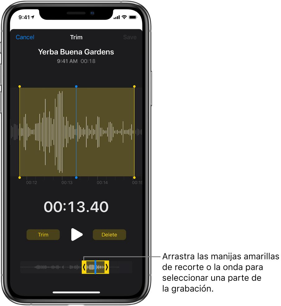 La grabación se recorta usando las manijas de recorte al separar una parte de la onda de audio en la parte inferior de la pantalla. Encima de la onda aparecen el botón Reproducir y un temporizador de grabación. Las manijas de recorte se encuentran debajo del botón Reproducir.