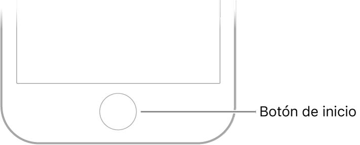 El botón de inicio está en el centro de la parte inferior del iPhone.