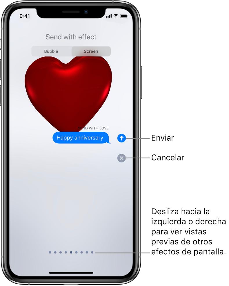 Una previsualización de un mensaje mostrando un efecto en pantalla completa con un corazón rojo.