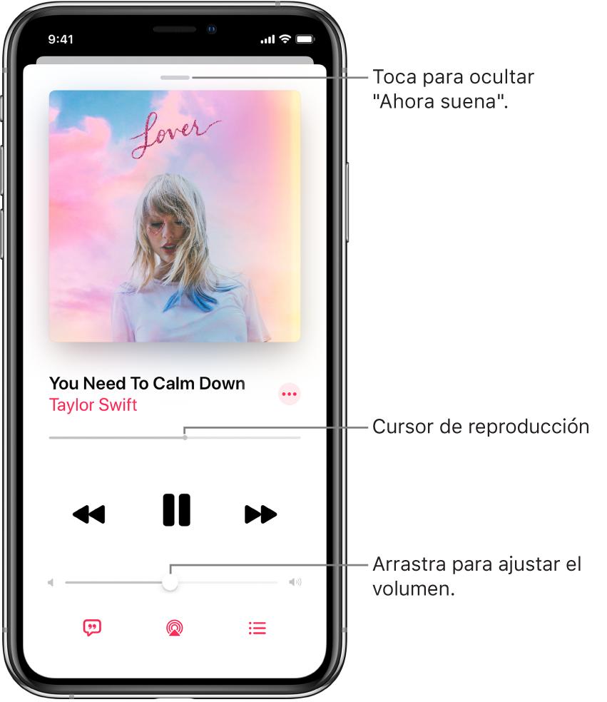 """La pantalla """"Ahora suena"""" mostrando la ilustración del álbum. Debajo se encuentra el nombre de la canción, el nombre del artista, el botón Más, el cursor de reproducción, los controles de reproducción, el regulador del volumen, el botón para ver la letra de la canción, el botón """"Destino de la reproducción"""" y el botón """"A continuación"""". El botón """"Ocultar ahora suena"""" se sitúa en la parte superior."""