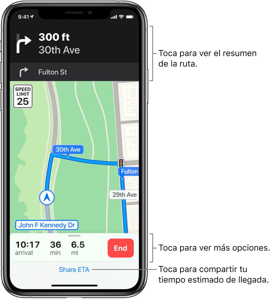 """Un mapa mostrando una ruta en automóvil, con una indicación para dar vuelta a la derecha en 100metros. Cerca de la parte inferior del mapa se muestran la hora estimada de llegada y la distancia total a la derecha del botón Finalizar. El botón """"Compartir TdL"""" aparece en la parte inferior de la pantalla."""