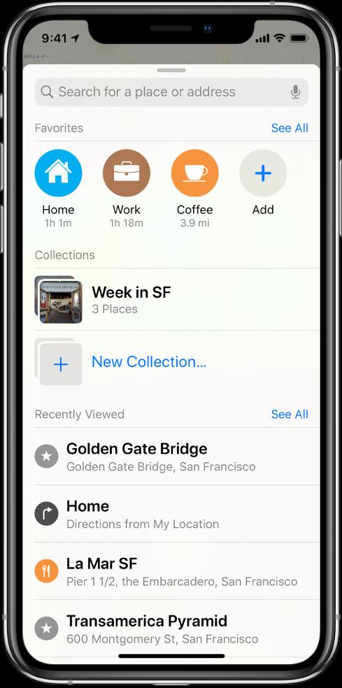 """La tarjeta de búsqueda llena la pantalla. La sección Colecciones aparece debajo del campo de búsqueda y la fila Favoritos. En la lista Colecciones se encuentra una colección llamada """"Semana en SF"""" y hay una opción para crear una colección nueva."""